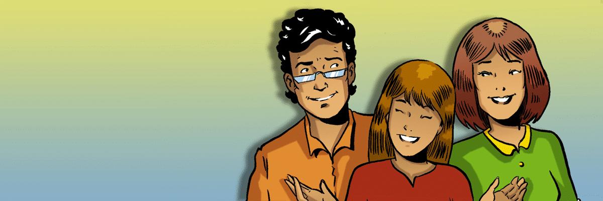 Il·lustració pares i filla banner